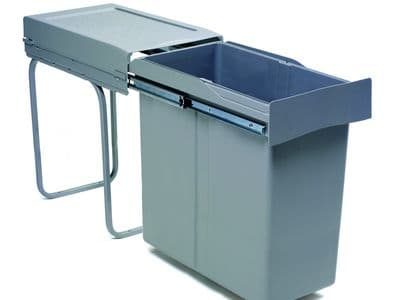 Pull-out waste bin, 40 ltr, full extension runners, grey